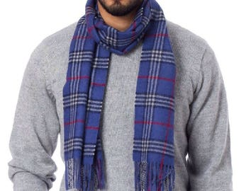 100% Woven & Brushed Scottish Baby Alpaca Scarf  - Peruvian Handmade Scarf - Men's Plaid Baby Alpaca Scarf from Peru