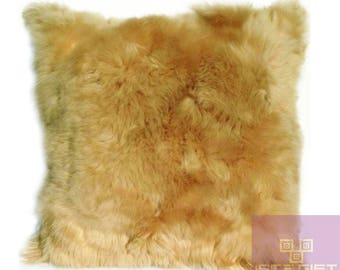 "FREE SHIPPING- Beige Alpaca Fur Pillow - Cushion 15.8"" x 15.8"" First Quality"