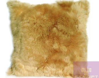 "FREE SHIPPING- 2 Pc Set of Beige Alpaca Fur Pillow - Cushion 15.8"" x 15.8"" First Quality-"