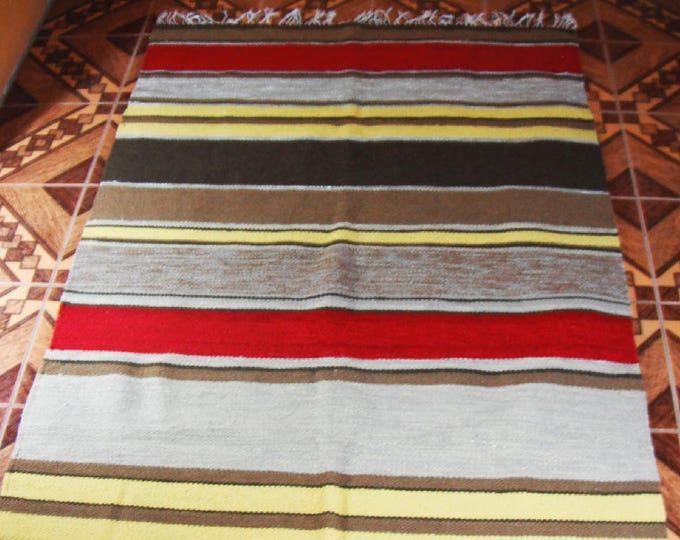 ON SALE -Peruvian rug genuine handmade loomed alpaca sheep wool Peru carpet for living room bedroom Hand Crafted Geometric Wool Area Rug
