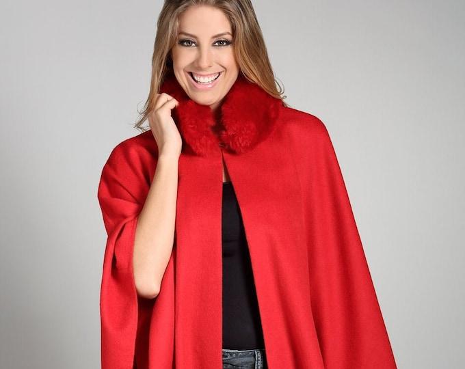 Genuine baby alpaca cape with fur- classic design authentic wool peruvian cape