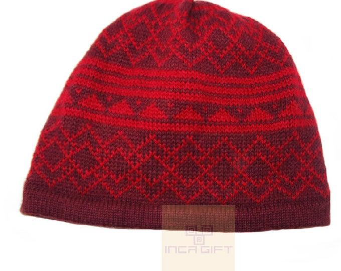 100% ALPACA - alpaca hat handmade in Peru -  Alpaca hat for women Winter Hat fancy hat -Peruvian Hat -Peruvian Products - Burgundy Red