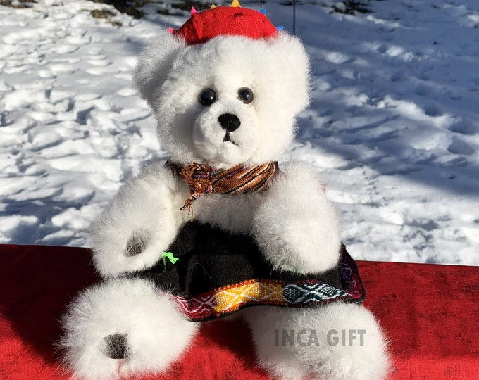 11 IN Real Baby Alpaca Fur Teddy Bear - Real Alpaca fur 11 IN  Stuffed Toy white  Toy from Peruvian Artisans-  Special gift