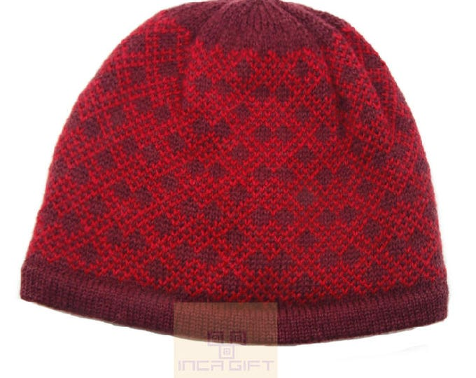 100% ALPACA - alpaca hat handmade in Peru -  Alpaca hat for women Winter Hat fancy hat -Peruvian Hat -Peruvian Products  Burgundy -Red