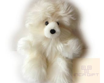 Real Super Baby Alpaca Suri Teddy  Bear White Peruvian Stuffed Alpaca Toys -Handmade llama Fur toy -Alpaca stuffed animal from Peru