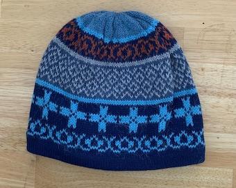 100% ALPACA - alpaca hat handmade in Peru - Fleece Lining  Alpaca hat for women Winter Hat hat -Peruvian Hat Peruvian Products Blue