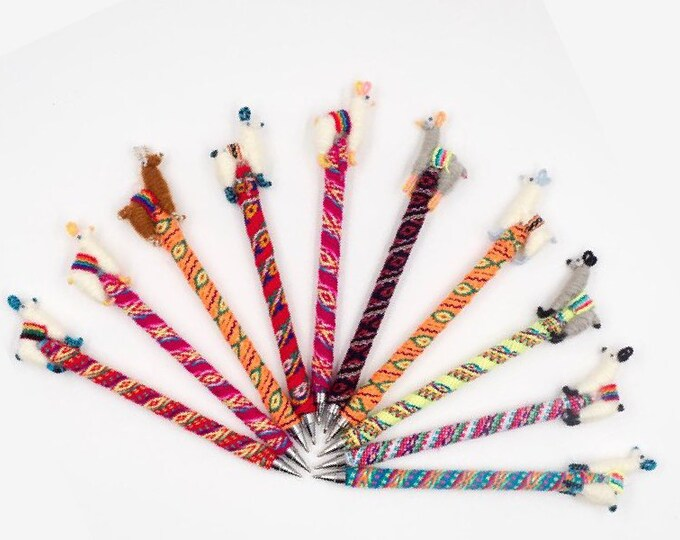 1 pack- 2 pack - 5 pack Alpaca / Llama pen made in Peru by hand/Llama Keychain, ethnic decoration, anniversary gifts, gift bag filler access