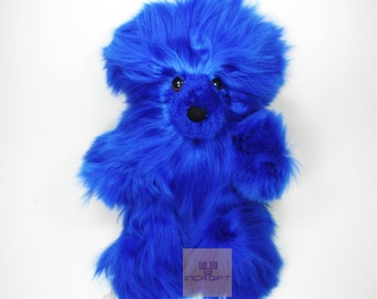 10 IN Real Super Baby Alpaca Suri Teddy  Bear BluePeruvian Stuffed Alpaca Toys -Handmade llama Fur toy -Alpaca stuffed animal from Peru