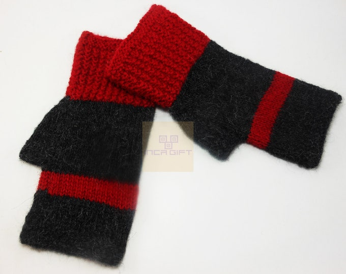 Real alpaca fingerless gloves Black-Red handmade in Peru - Alpaca gloves for  women  fancy  Gloves for texting stripped  -Peruvian Products