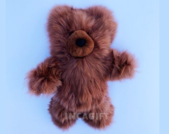 10 IN - 13 IN Real Super Baby Alpaca Suri Teddy  Bear Brown Peruvian Stuffed Alpaca Toys -Handmade Fur toy -Alpaca stuffed animal from Peru