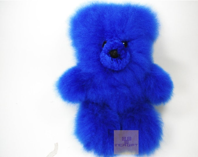 Real Super  Baby Alpaca Fur Teddy  Bear - Peruvian Products - Stuffed Colored Alpaca Toys - Handmade
