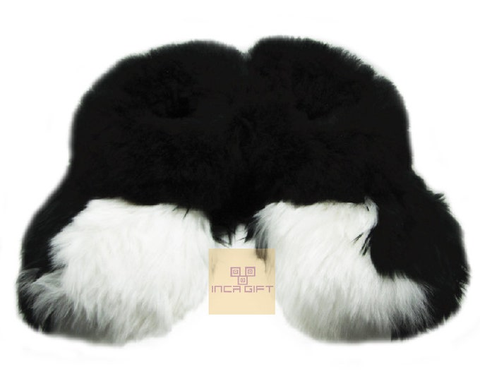 Warm, 100% Baby Alpaca Fur Fuzzy Slippers- Suri Slipper for Men,  Women, Luxury Gift for any occasion  Mix Black - White