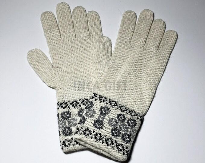100% ALPACA -White Alpaca gloves handmade in Peru - Alpaca gloves for  women  Gloves fancy for texting  -Peruvian Products