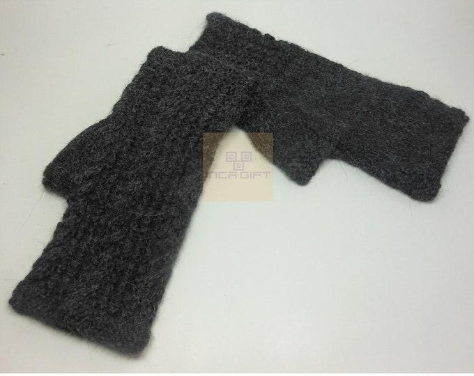 100% ALPACA - BLACK alpaca fingerless gloves handmade in Peru-  Alpaca gloves for  women  Gloves fancy for texting  -Peruvian Products