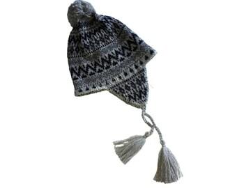 Real Ear Flap Hat Chullo  Alpaca Hat Authentic Alpaca Wool Peruvian Products Knit Handmade  Hat-  Fleece Lining PERU