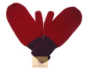 100% ALPACA - Alpaca mittens handmade in Peru -for men women winter mittens fancy -Snow Mittens Peruvian Products Mix Color Red - Purple