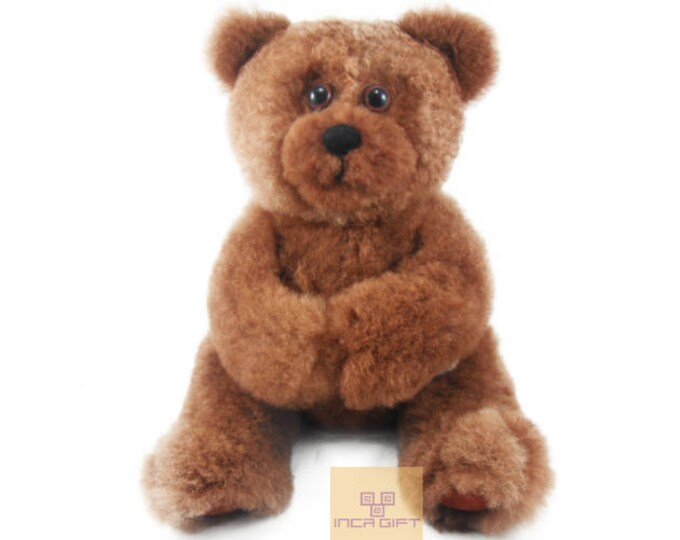 11 IN Gold Baby Alpaca Fur Teddy Bear - Real Alpaca fur 11 IN - Stuffed Toy - Plush toy - Peruvian Toy from Peruvian Artisans-  Special gift