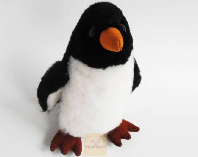 9 IN PREMIUM Baby Alpaca Fur Penguin -Real Alpaca Fur 9IN - Stuffed Bird Toy -Plush toy - Peruvian Toy from Peruvian Artisans-  Special gift