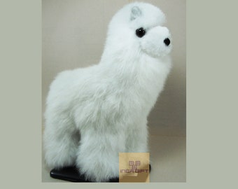 9IN  PREMIUM Handmade Alpaca Stuffed Animal Plush Alpaca  Fur/Llama fur teddy alpaca Standing handmade Peruvian alpaca fur animal toy