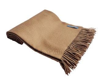 Camel 100% Baby Alpaca Throw Blanket - Woven blankets made in Peru