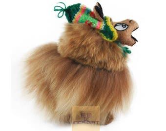 Funny Alpaca Stuffed Plush Alpaca  /Alpaca Hand Made Ultra soft / Peruvian alpaca fur animal toy