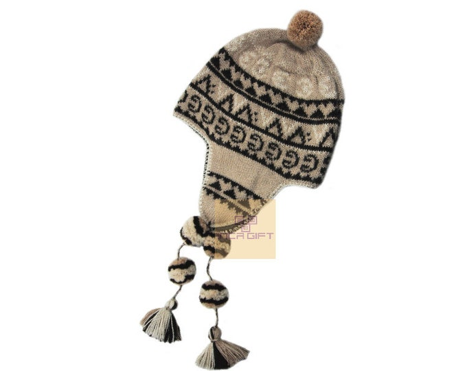 Peruvian Ear Flap Hat Chullo  Alpaca Hat Authentic Alpaca Wool Peruvian Products Knit Handmade  winter Hat-fleece lining