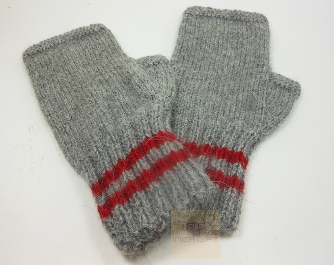 100% ALPACA - alpaca fingerless gloves- handmade in Peru - Alpaca gloves for  women  Gloves fancy for texting stripped  -Peruvian Products