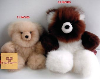 Real Super Baby Alpaca Fur Teddy  Bear - Peruvian Products - Stuffed Alpaca Toys - Handmade