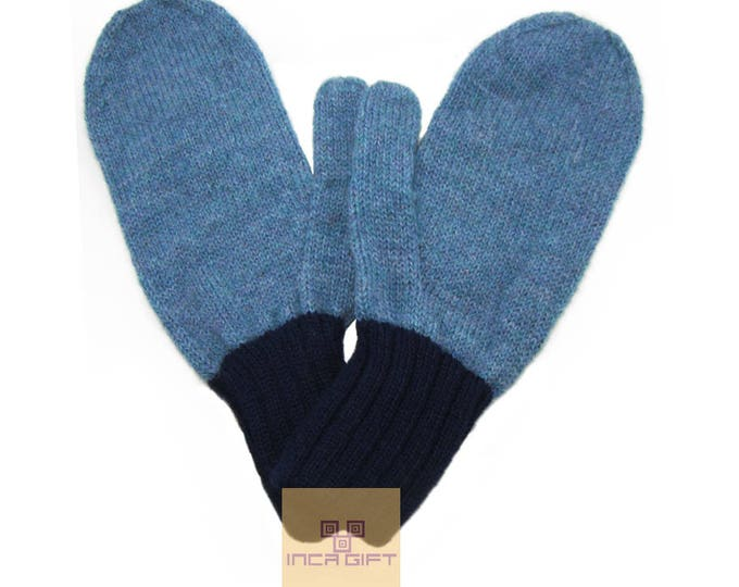 100% ALPACA - Alpaca mittens handmade in Peru -for men women winter mittens fancy -Snow Mittens Peruvian Products Mix Color Blue Melange-