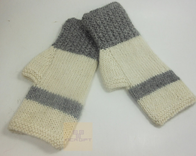 Real alpaca fingerless gloves white- gray handmade in Peru - Alpaca gloves for  women  Gloves fancy for texting stripped  -Peruvian Products