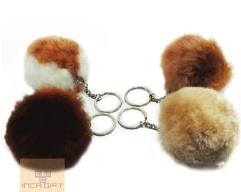 FREE shipping - Baby Alpaca Fur POMPOM Keychain  -handmade decoration gift bag accessories,POMPOM Handcrafted -Peruvian art -Alpaca