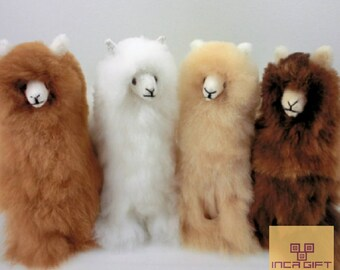 14 IN 6 IN Handmade Alpaca Stuffed Animal Plush Alpaca 13 -9 IN/ Llama  fur teddy alpaca handmade Peruvian alpaca fur stuffed animal toy