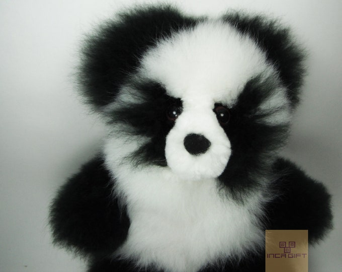 13 IN PANDA Alpaca Fur Teddy Bear - Real Alpaca fur 13 IN - Stuffed Toy - Plush toy - Peruvian Toy from Peruvian Artisans-  Special gift