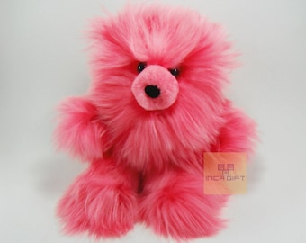 Real Super Baby Alpaca Suri Teddy  Bear Pink Peruvian Stuffed Alpaca Toys -Handmade llama Fur toy -Alpaca stuffed animal from Peru