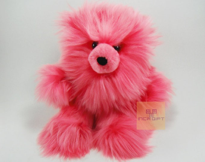 Real Super Baby Alpaca Suri Teddy  Bear Pink Peruvian Stuffed Alpaca Toys -Handmade llama Fur toy -Alpaca stuffed animal from Peru