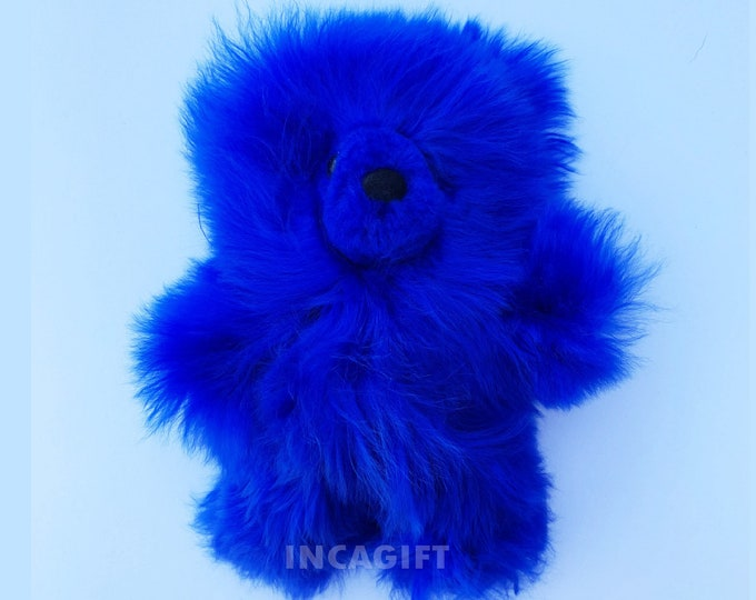 10 IN - 13 IN Real Super Baby Alpaca Suri Teddy  Bear Blue Peruvian Stuffed Alpaca Toys -Handmade Fur toy -Alpaca stuffed animal from Peru