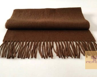 100% Baby Alpaca Scarf  - Peruvian Handmade Scarf-  Solid Weave Brushed Scarf