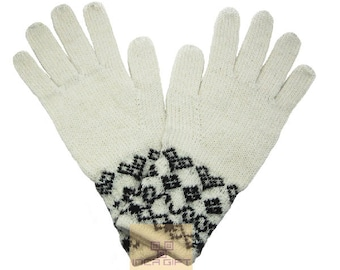 100% ALPACA - alpaca gloves handmade in Peru - Alpaca gloves for men women winter Gloves fancy -Peruvian Products - White  gloves