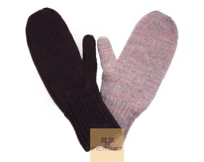 100% ALPACA - Reversible alpaca mittens handmade in Peru -for men women winter Double face mittens fancy -Peruvian Products Purple - Rose