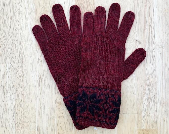 100% ALPACA -Burgundy Melange alpaca gloves handmade in Peru - Alpaca gloves for  women  Gloves fancy for texting  -Peruvian Products