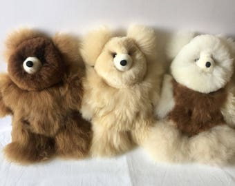 100% Real Baby Alpaca Fur Teddy Bear   6 In - 15 In Assorted Colors - Peruvian Art- Stuffed Alpaca Toy