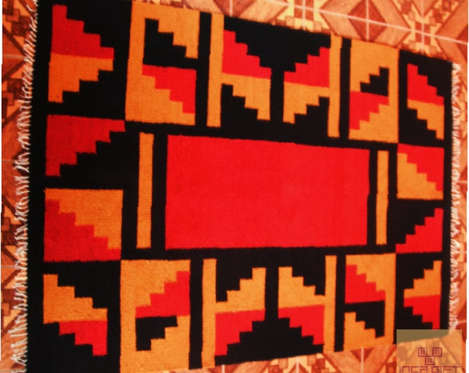 ON SALE Peruvian rug genuine handmade loomed alpaca sheep wool Peru carpet for living room bedroom kids Hand Crafted Geometric Wool Area Rug