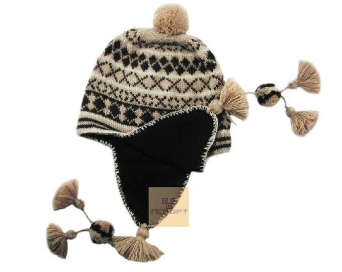 Peruvian Ear Flap Hat Chullo  Alpaca Hat Authentic Alpaca Wool Peruvian Products Knit Handmade  Hat
