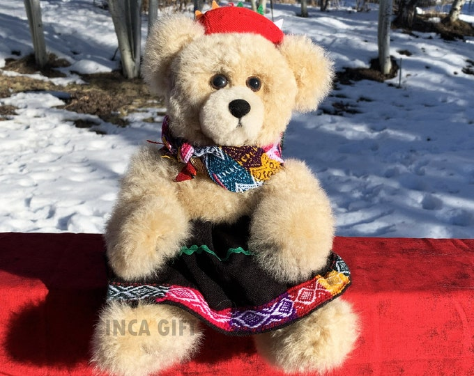 11 IN Real Baby Alpaca Fur Teddy Bear - Real Alpaca fur 11 IN  Stuffed Toy Beige Toy from Peruvian Artisans-  Special gift