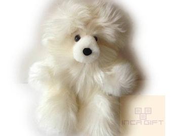Real Super Baby Alpaca Suri Teddy  Bear White Peruvian Stuffed Alpaca Toys -Handmade llama Fur toy -Alpaca stuffed animal from Peru