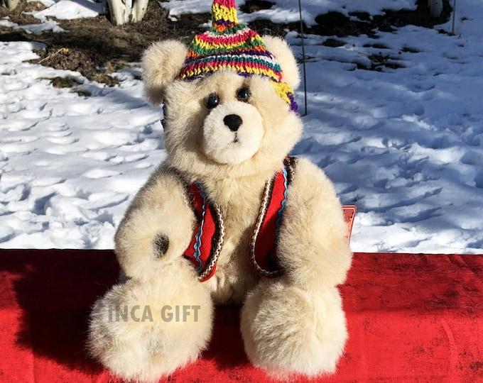 11 IN Real Baby Alpaca Fur Teddy Bear - Real Alpaca fur 11 IN - Stuffed Toy Beige Toy from Peruvian Artisans-  Special gift