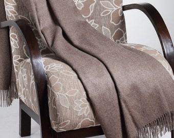 100% Baby Alpaca Throw Blanket - Tobacco brown- Woven blankets made in Peru