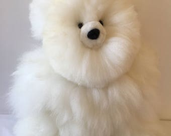 16 IN Real Baby Alpaca Fur Teddy  Bear - Peruvian Products - Stuffed Alpaca Toys - Handmade Peruvian Toy - Peruvian Art
