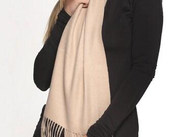 100% Baby Alpaca Scarf  - Peruvian Handmade Scarf-  Solid Weave Brushed Scarf