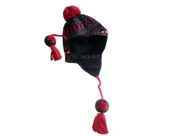 Real Ear Flap Hat Chullo  Alpaca Hat Authentic Alpaca Wool Peruvian Products Knit Handmade  Hat-  Fleece Lining